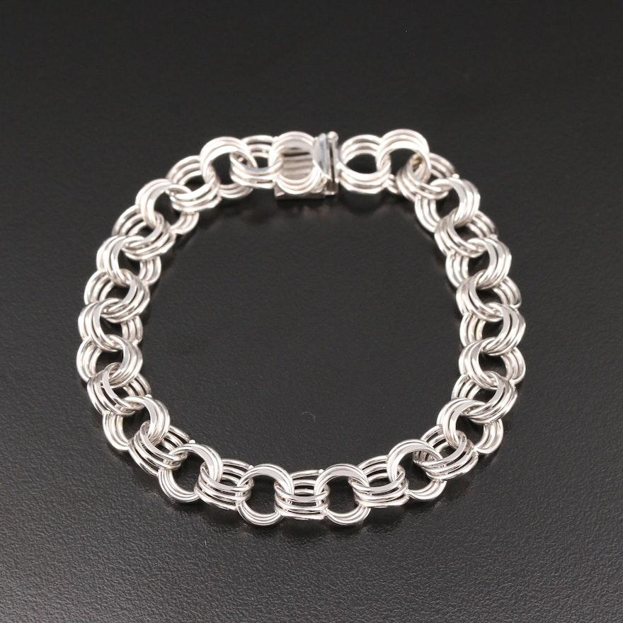 14K White Gold Triple Link Bracelet