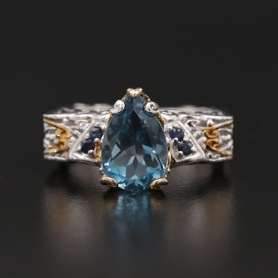 Sterling Silver Topaz and Sapphire Ring with Euro Shank