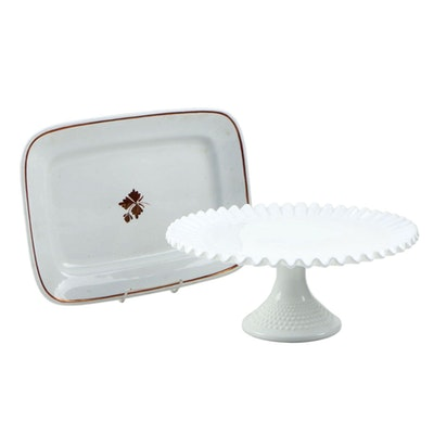 Fenton Hobnail Milk Glass Cake Stand and Alfred Meakin Ironstone Platter