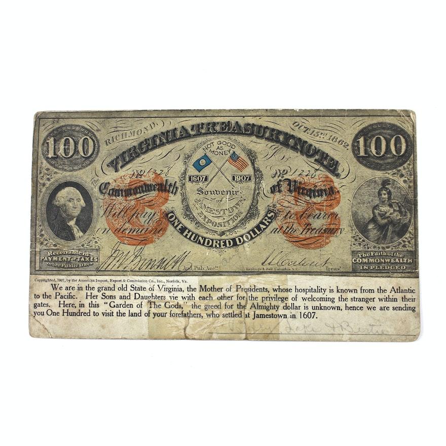 1907 Jamestown Exposition Virginia Treasury Note Oversized Postcard