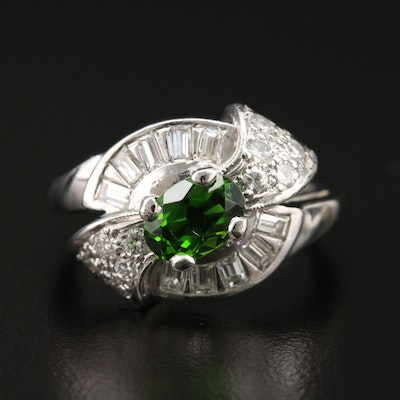 1950s Platinum Tourmaline and Diamond Ring