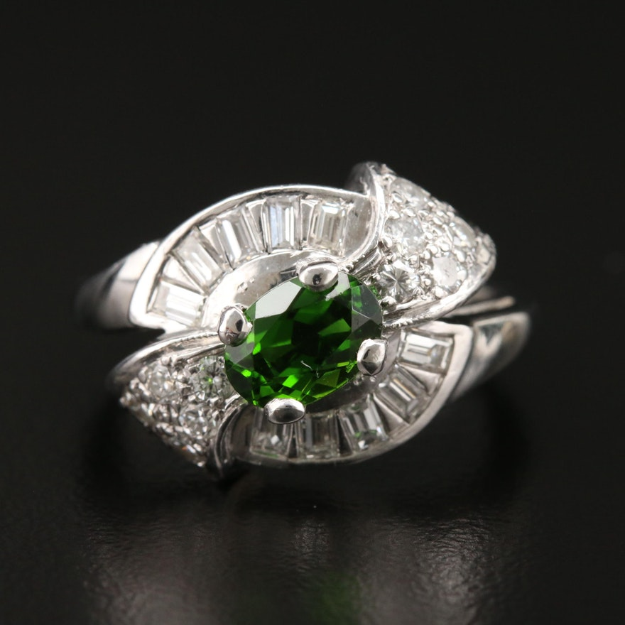 1950s Platinum Tourmaline and Diamond Ring