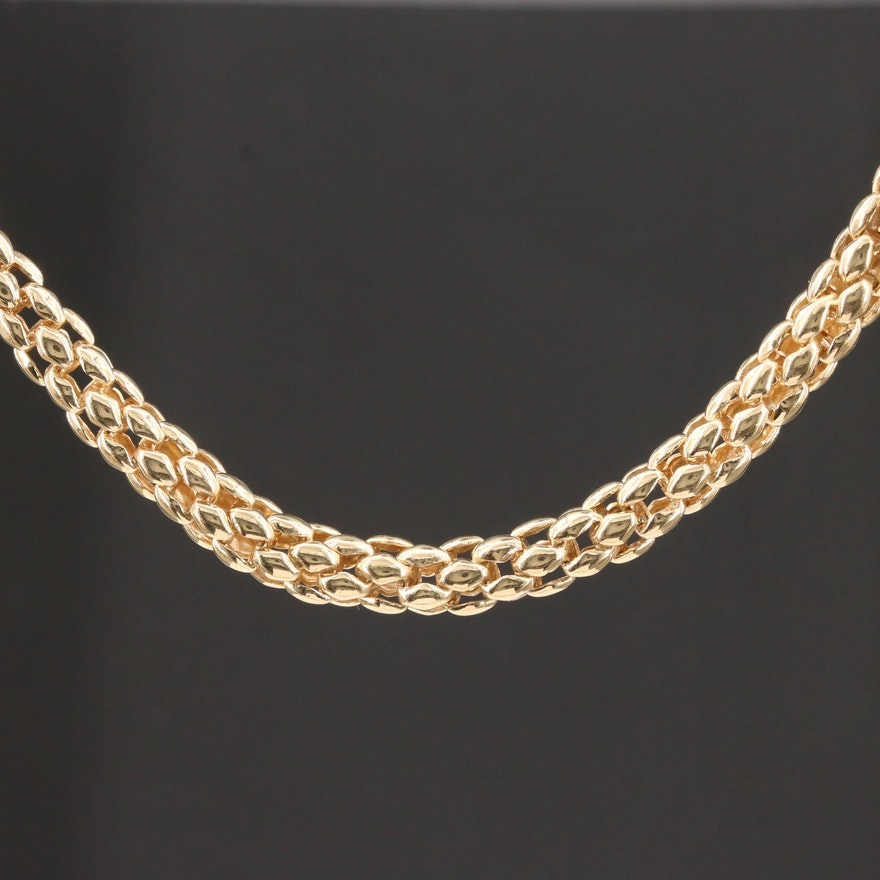 14K Yellow Gold Woven Mesh Necklace