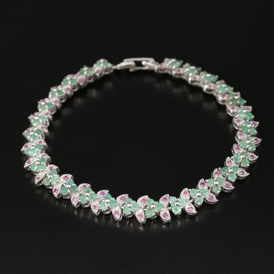 Sterling Silver Emerald and Ruby Bracelet