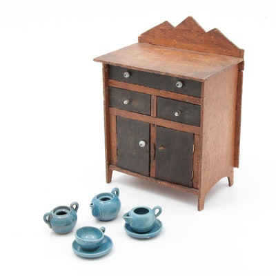 Miniature Folk Art Cupboard and Ceramic Accessories, Signed and Dated 1887
