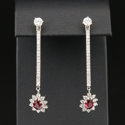 14K White Gold 1.83 CTW Diamond and Ruby Stud Earrings and Jackets