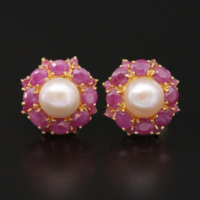 Sterling Silver Ruby and Pearl Drop Earrings