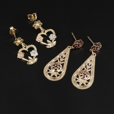 14K Gold Heart and Oval Dangle Earrings