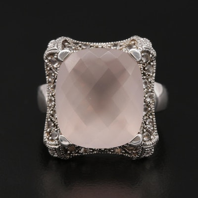 Sterling Silver Rose Quartz and Topaz Ring