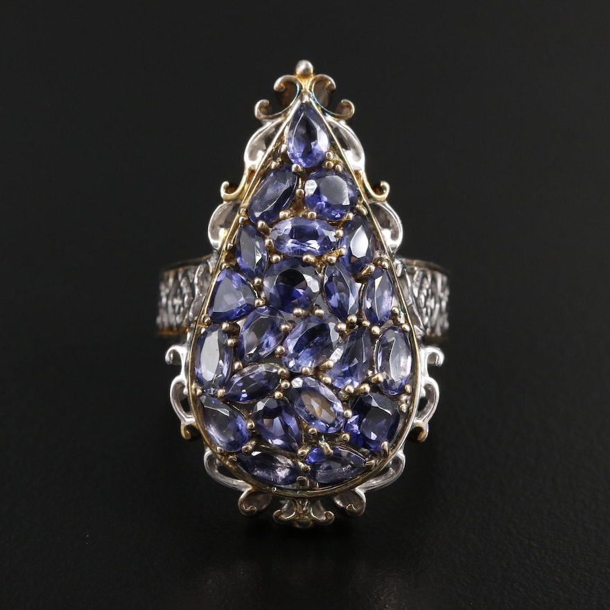 Sterling Silver Iolite Scrollwork Ring