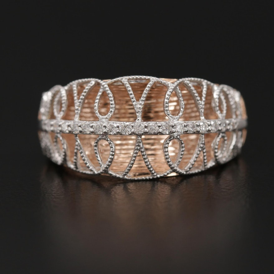 14K Rose and White Gold Openwork Diamond Ring