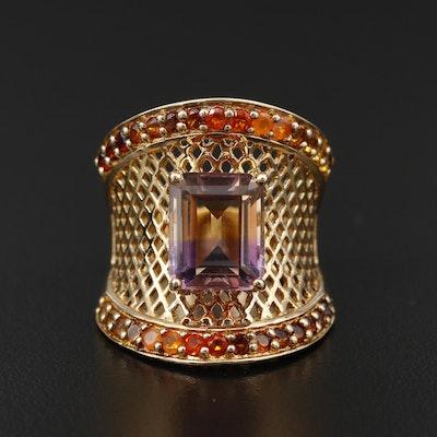 Sterling Silver Ametrine, Fire Opal and Garnet Lattice Ring