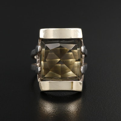 Sterling Silver Smoky Quartz Ring with 18K Yellow Gold Accents