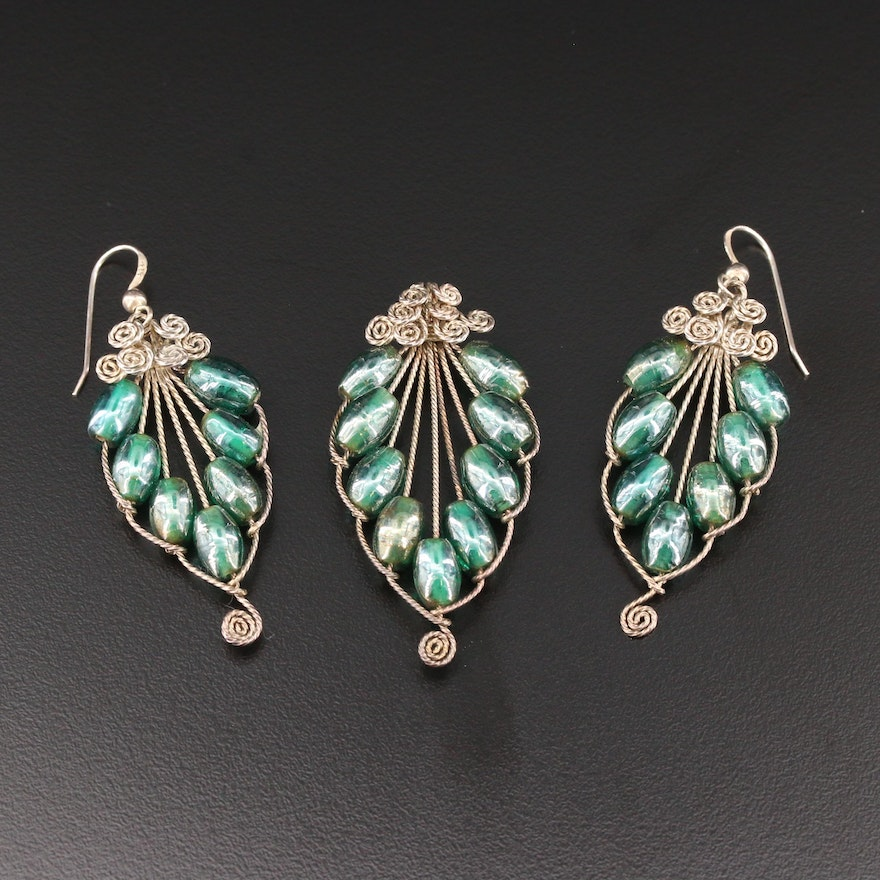 Sterling Silver Glass Earrings and Pendant