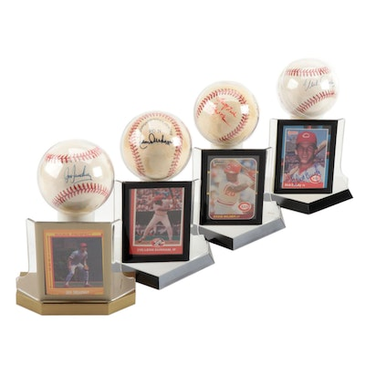Treadway, Esasky, Milner and Durham Signed Baseballs with Cards  COA