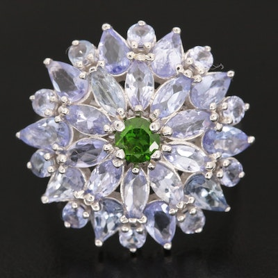 Sterling Silver Diopside and Tanzanite Floral Ring