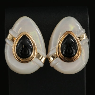 14K Yellow Gold Black Onyx and Mother of Pearl Earrings