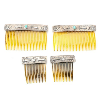 Sterling Silver Engraved Hair Combs with Turquoise, Vintage