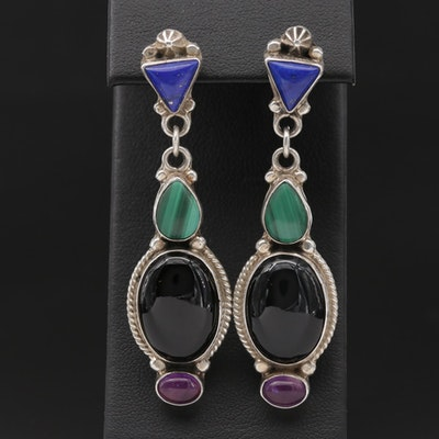 Roie Jaque Navajo Diné Sterling and Mixed Gemstone Dangle Earrings