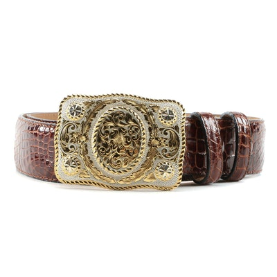 Ferrini Alligator Belt with Crumrine Mfg. Gold Wash on Sterling Silver Buckle