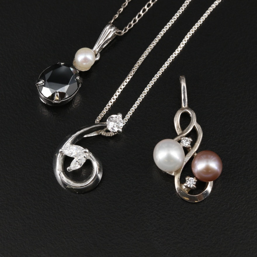 Sterling Cultured Pearl, Hematite and Cubic Zirconia Necklaces and Pendant