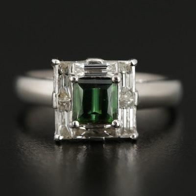 Vintage Bailey Banks and Biddle Co. Platinum Tourmaline and Diamond Ring