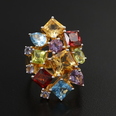 Sterling Silver Citrine, Topaz and Garnet Ring