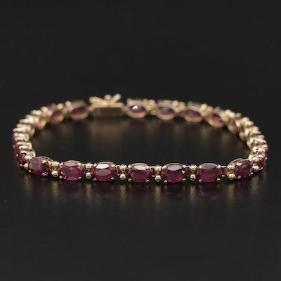 14K Yellow Gold Rhodolite Garnet Bracelet