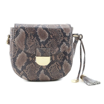 G.I.L.I. Python Embossed Leather Front Flap Shoulder Bag with Tassel
