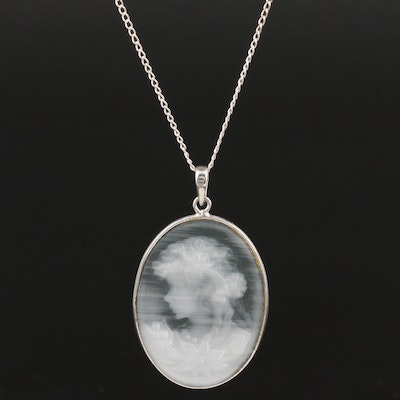 Sterling Silver Glass Cameo Pendant Necklace