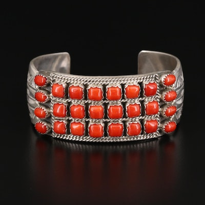 L. Begay Navajo Diné Sterling Silver and Coral Cuff Bracelet
