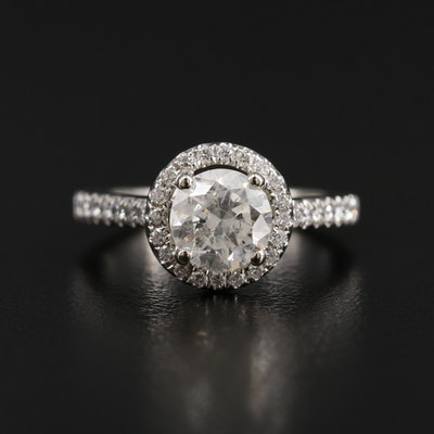 14K White Gold 1.28 CTW Diamond Ring