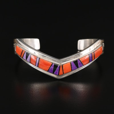 B. G. Mudd Coral and Sugilite Inlaid Sterling Cuff