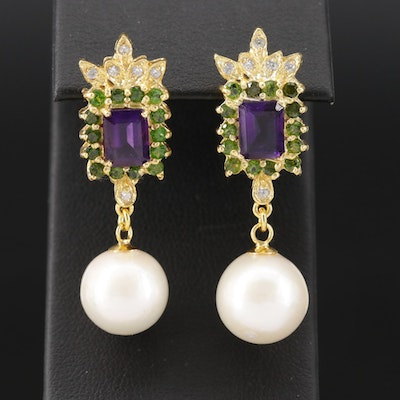 Sterling Amethyst, Diopside and Pearl Drop Earrings
