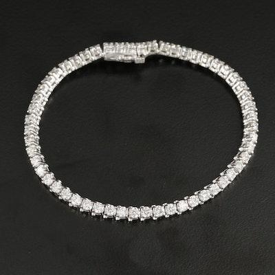 14K White Gold 5.52 CTW Diamond Tennis Bracelet