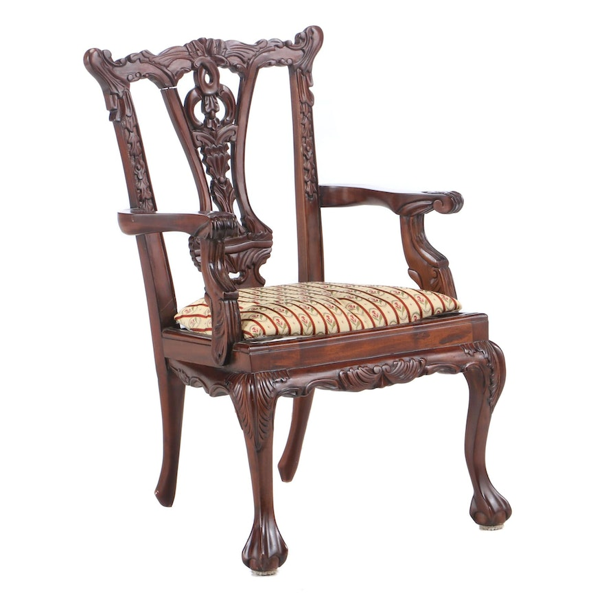 Chippendale Style Carved Mahogany Child's Open Armchair