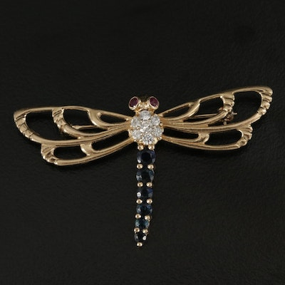 B.A. Ballori and Co. 14K Yellow Gold Sapphire, Ruby and Diamond Dragonfly Brooch