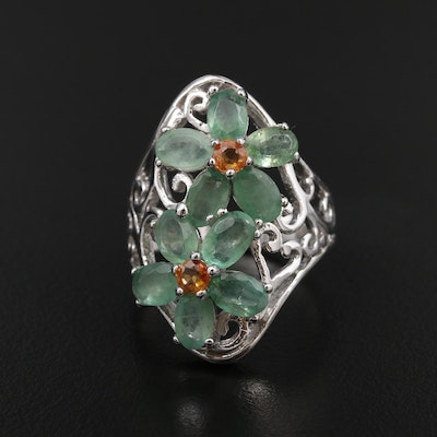 Sterling Silver Emerald and Sapphire Floral Ring