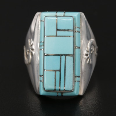 Leonard Jim Navajo Diné Sterling Silver Kokpelli and Inlaid Turquoise Ring