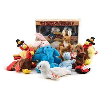 Ty Beanie Babies with Kennel Kuddlees Tea Set