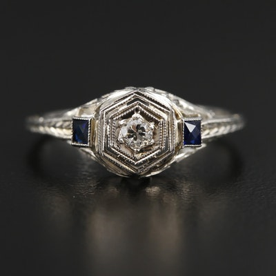 1930s 18K White Gold Diamond and Sapphire Ring