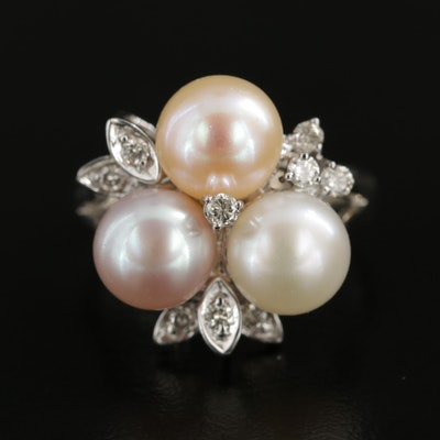 Vintage 14K White Gold Pearl and Diamond Ring