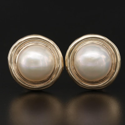 14K Yellow Gold, Cultured Mabé Pearl Clip-On Earrings