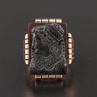 Victorian 10K Rose Gold Black Onyx Cameo Ring Featuring Carved Elizabethan Lady