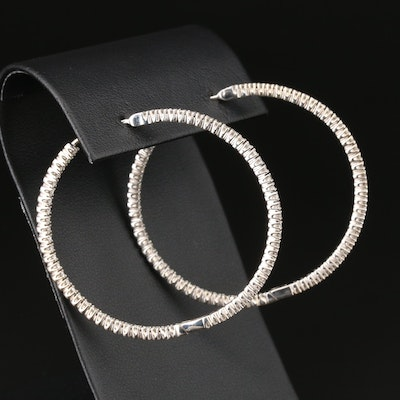 14K White Gold 2.00 CTW Diamond Inside-Out Hoop Earrings