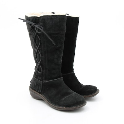 Women's UGG Desoto Black Suede and Shearling Lace-Up Fringe Boots