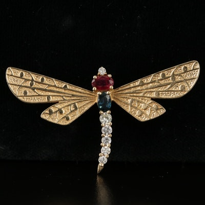 B.A. Ballori and Co. 14K Gold Ruby, Sapphire, and Diamond Dragonfly Brooch