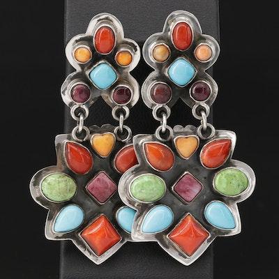 Southwestern Style Sterling Silver, Multi-Colored Gemstone Earrings