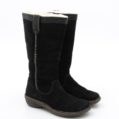Women's UGG Swell Black Suede and Shearling Boots
