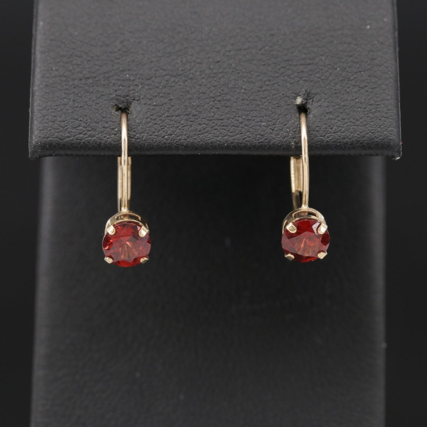 10K Yellow Gold, Garnet, Leverback Stud Earrings